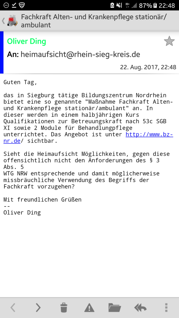 Screenshot der Mail an die Heimaufsicht